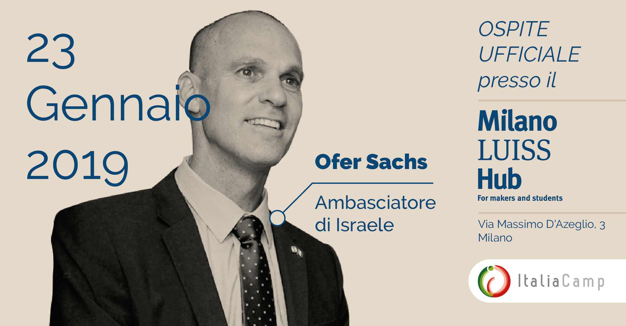 L'Ambasciatore di Israele Ofer Sachs al Milano LUISS Hub