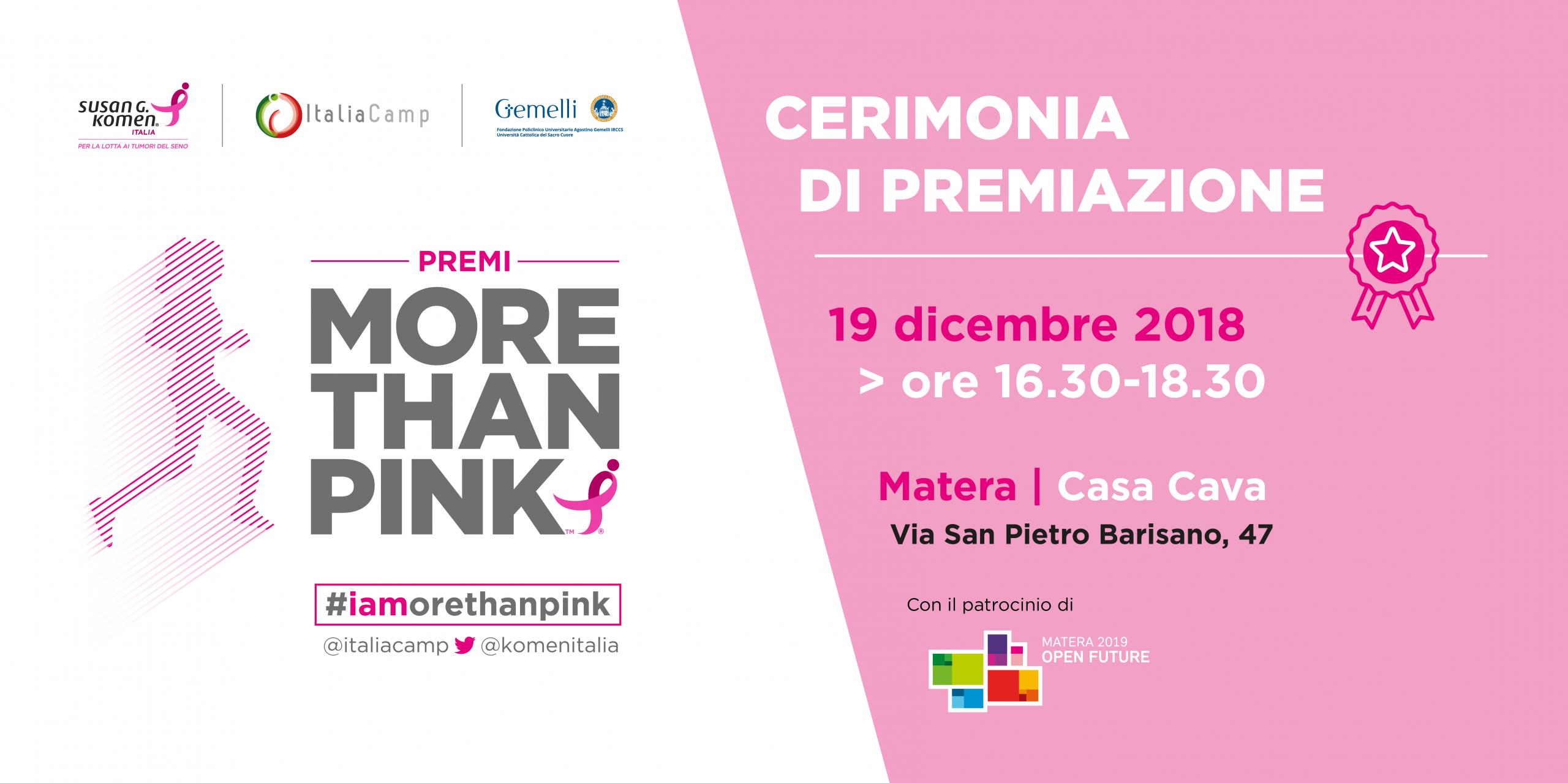 More Than Pink 2018 premiazione